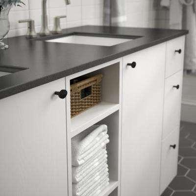 Modern Herringbone 1-3/8 in. (35mm) Matte Black Cabinet Knob