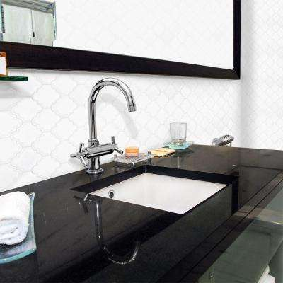 Marrakech White Arabesque 9-3/8 in. x 12-1/4 in. x 8 mm Glossy Ceramic Mosaic Tile