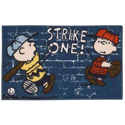 Friends Strike One Blue 1 ft. 6 in. x 2 ft. 6 in. Accent Rug