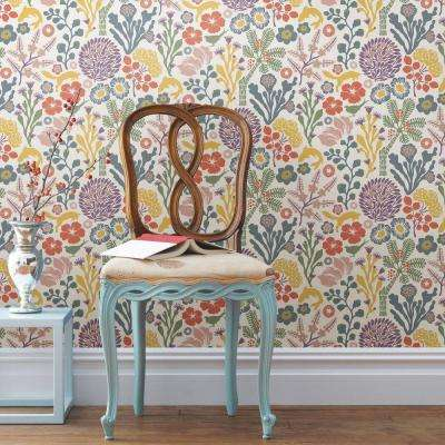 57.5 sq. ft. White Floral Meadow Wallpaper