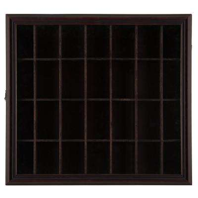 Shot Glass Case 17.9 in. W x 2.7 in. D Walnut Decorative Shelf