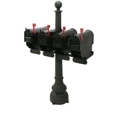 Carrington 4-Compartment Steel Black Colonial Mailbox and Post