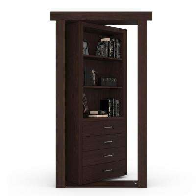 36 in. x 80 in. Flush Mount Assembled Dresser Door Maple Dark Brown Stained Right-Hand Inswing