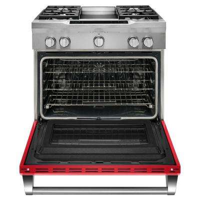 36 in. 5.1 cu. ft. Dual Fuel Range with Convection Oven in Signature Red