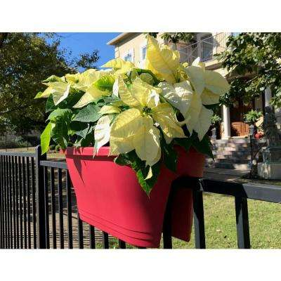 24 in. Oval Cranberry Red Plastic Flower Bridge Planter