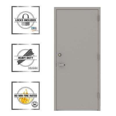 Gray Flush Security Steel Prehung Commercial Door with Welded Frame