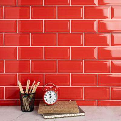 Park Slope Beveled Subway Apple Red 3 in. x 6 in. Ceramic Wall Tile (36 cases / 690.48 sq. ft. / pallet)