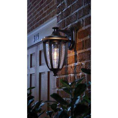 1-Light Black with Gold Highlights Outdoor 8 in. Wall Lantern Sconce with Clear Seedy Glass