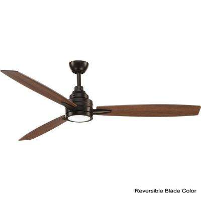 Gaze Collection 60 in. LED Indoor Antique Bronze Industrial Ceiling Fan with Light Kit and Remote