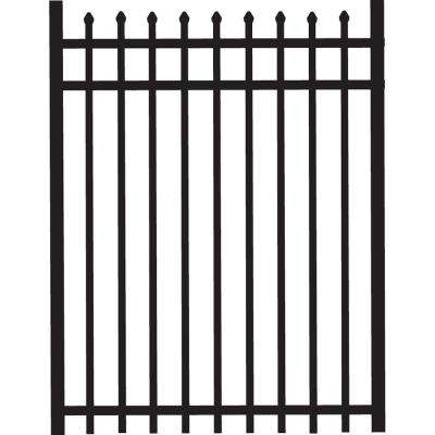 Cascade 4 ft. x 5 ft. Heavy-Duty Black Aluminum Straight Pre-Assembled Fence Gate