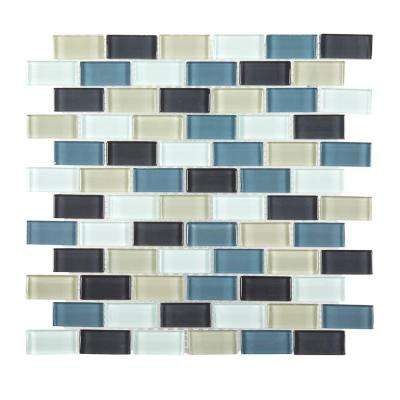 Shoreline Brick 12 in. x 12 in. x 8 mm Glass Mosaic Wall Tile