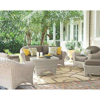 Lake Adela Bone 6-Piece Patio Seating Set with Wheat Cushions