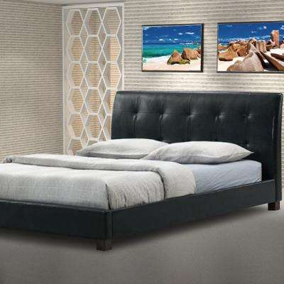 Hauten Transitional Black Faux Leather Upholstered Full Size Bed