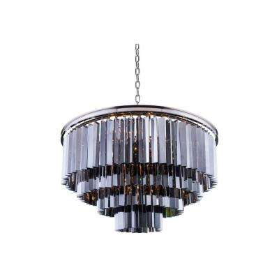 Sydney 17-Light Polished Nickel Chandelier with Silver Shade Grey Crystal