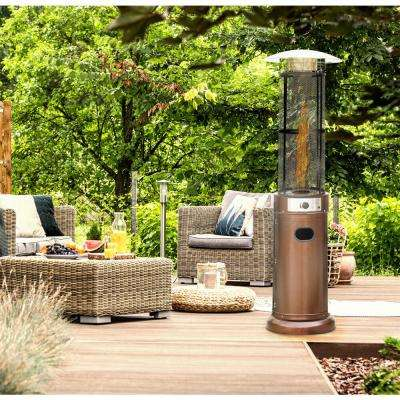 6 ft. 34,000 BTU Bronze Cylinder Propane Gas Patio Heater with Glass Flame Display