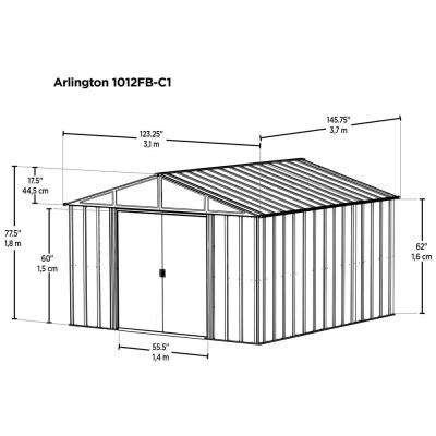 Arlington 10 ft. W x 12 ft. D Galvanized Metal White Storage Building