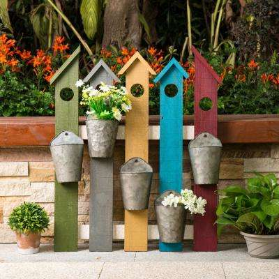 29.5 in. H Multi-Colored Wooden Metal Fence Planters