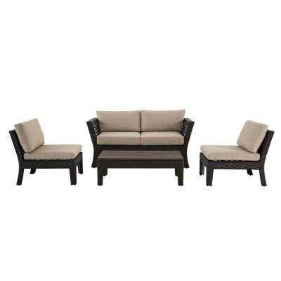 Tyler 4-Piece Steel Wicker Conversation Set With Beige Cushions