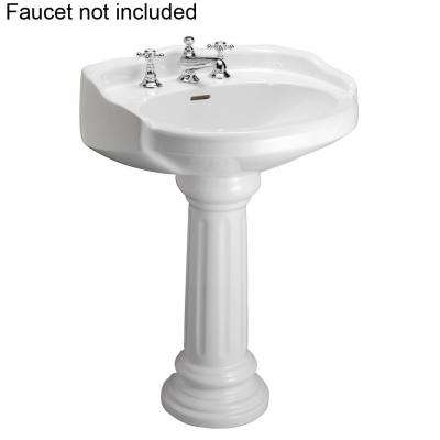 Victoria 26 in. Pedestal Combo Bathroom Sink for 8 in. Widespread in White
