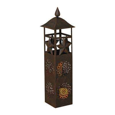 32.5 in. H Designer Metal Floor Lantern with 2 Battery Operated LED Candles
