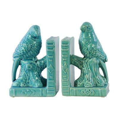8.5 in. H Bird Decorative Sculpture in Turquoise Gloss Finish (Set of 2)