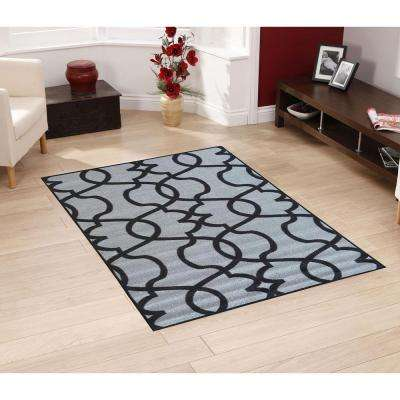 Rose Collection Contemporary Geometric Trellis Design Dark Grey 5 ft. x 7 ft. Non-Skid Area Rug