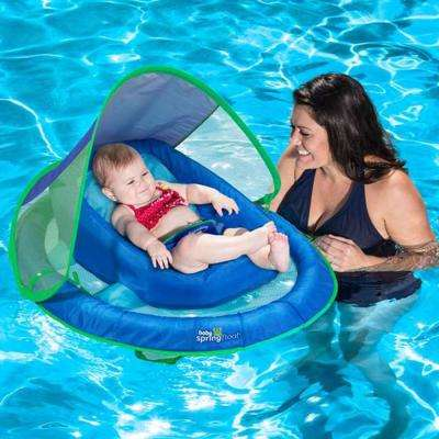 Blue Inflatable Infant Baby Spring Swimming Pool Float with Canopy