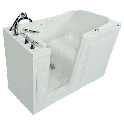 Gelcoat 5 ft. Walk-In Air Bath Tub with Left-Hand Quick Drain and Cadet Right-Height Toilet in White