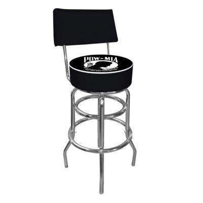 POW 30 in. Chrome Padded Swivel Bar Stool