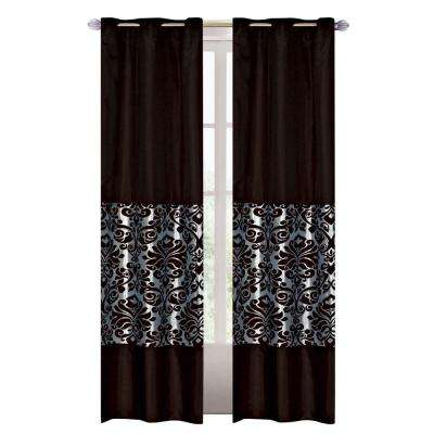 84 in. L Polyester Grommet Curtain in Chocolate/Ice (2-Pack)