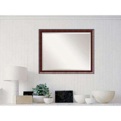 Country Walnut Wood 31 in. W x 25 in. H Traditional Framed Mirror