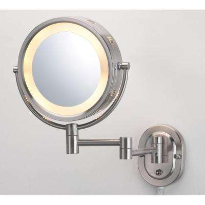 9.75 in. x 13.75 in. Lighted Wall Mirror in nickel