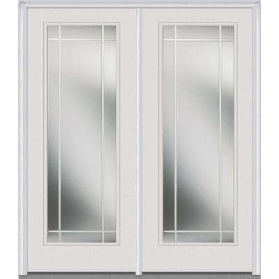 Classic Clear Glass Fiberglass Smooth Prehung Left-Hand Inswing Full Lite PIM Patio Door