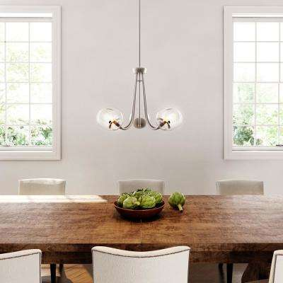 5-Light Brushed Nickel Chandelier with Globe Clear Glass Shades