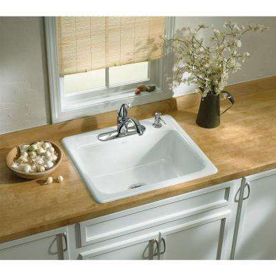 Mayfield White Cast Iron 25 in. 4-Hole Single Bowl Drop-in Kitchen Sink
