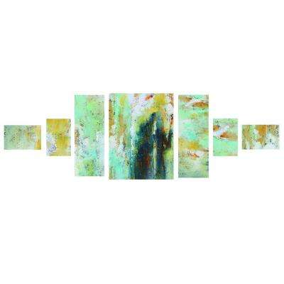 "32 in. x 81 in. ""Green Blocks"" Printed Canvas Wall Art"