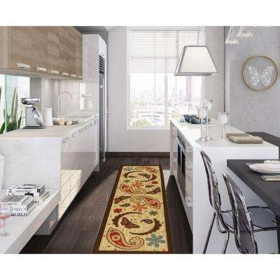 Sara's Kitchen Collection Paisley Design Beige 2 ft. x 5 ft. Runner Rug
