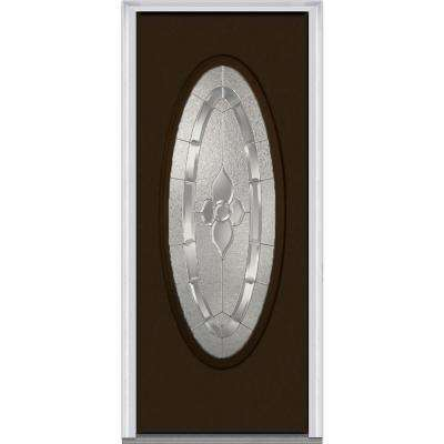 Master Nouveau Decorative Glass Full Oval Lite Painted Majestic Steel Prehung Front Door