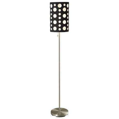 66 in. Black and White Stainless Steel High Modern Retro Floor Lamp