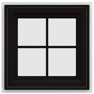 23.5 in. x 23.5 in. V-4500 Series Right-Hand Casement Vinyl Window with Grids - Black