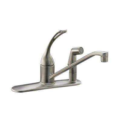 Coralais Single-Handle Standard Kitchen Faucet with Side Sprayer in Vibrant Brushed Nickel