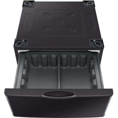 14.2 in. Fingerprint-Resistant Black Stainless Laundry Pedestal with Storage Drawer