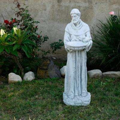 "Alpine Corporation 45"" Tall Outdoor Saint Francis Birdbath Statue Yard Art Decoration, Light Gray"