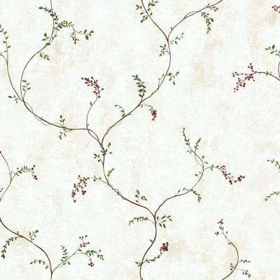 56 sq. ft. Small Vine with Berries Wallpaper