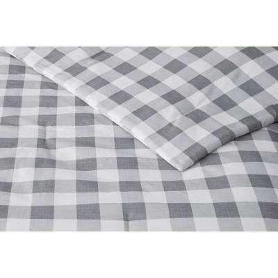 Tatefield 3-Piece Stone Gray Gingham Comforter Set