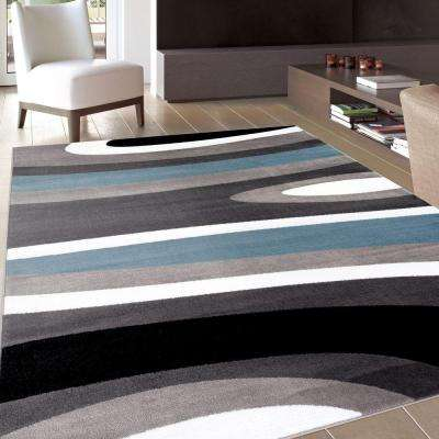 Abstract Contemporary Modern Blue 3 ft. 3 in. x 5 ft. Indoor Area Rug