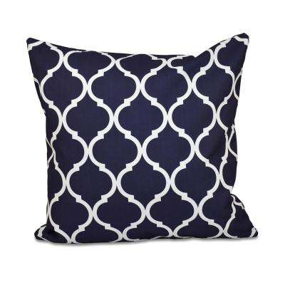 16 in. x 16 in. French Quarter Geometric Print Pillow in Navy Blue