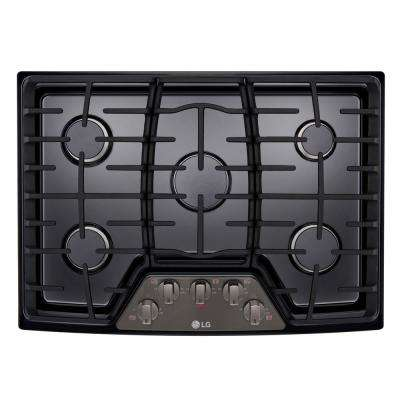 30 in. Gas Cooktop in Black Stainless Steel with 5 Burners including 17K SuperBoil Burner