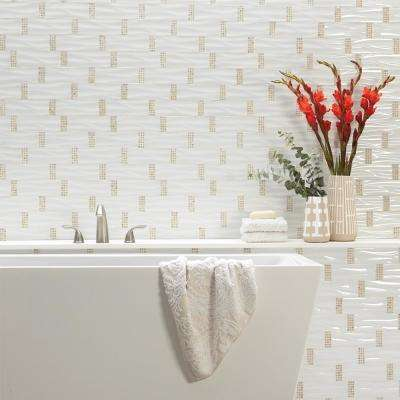 Premier Accents Snow White Wave 11 in. x 14 in. x 4 mm Glass and Stone Mosaic Wall Tile (0.73 sq. ft. / piece)