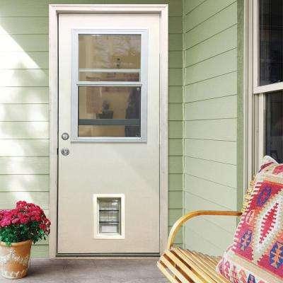 36 in. x 80 in. Classic Clear Vented Half Lite RHIS White Primed Fiberglass Prehung Front Door with Med Pet Door